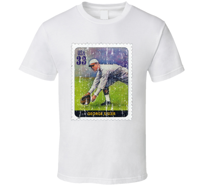Legends Of Baseball George Sisler Stamp Collector Gift Worn Look T Shirt