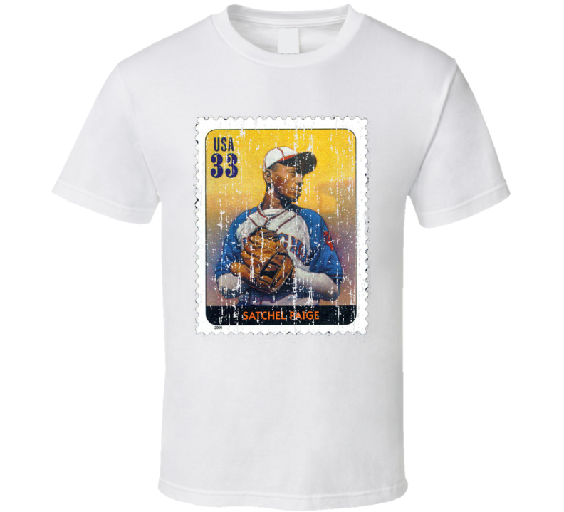 Legends Of Baseball Satchel Paige Stamp Collector Gift Worn Look T Shirt