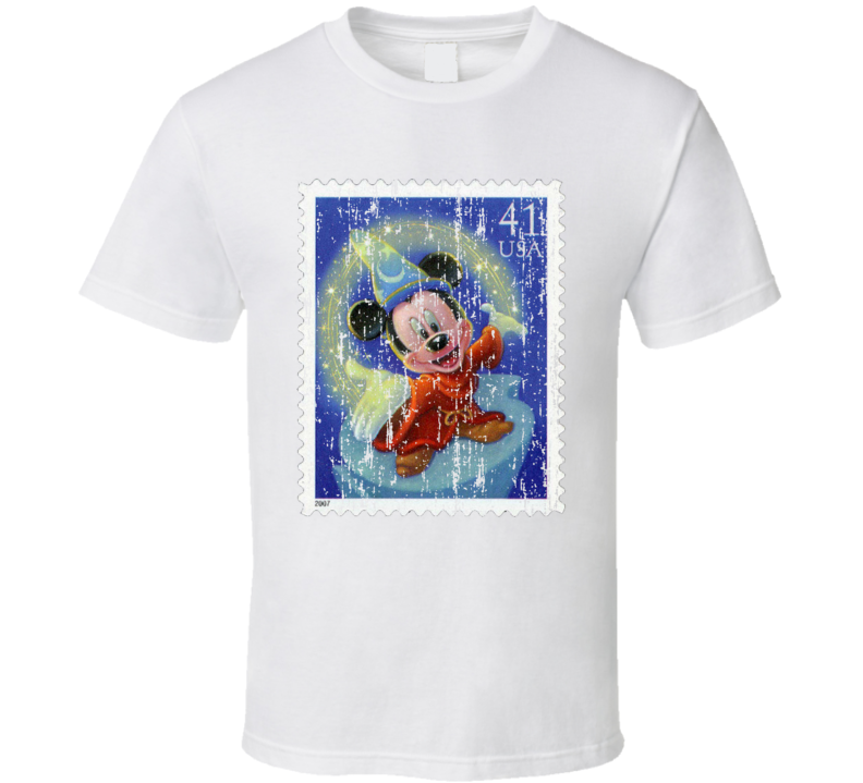 Mickey Mouse Stamp Collector Cartoon Gift Worn Look T Shirt