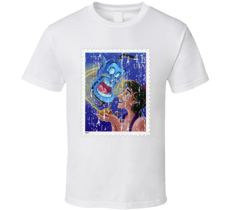 Aladdin And Genie Stamp Collector Cartoon Gift Worn Look T Shirt