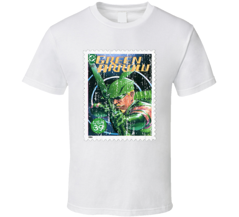 DC Comic Green Arrow Stamp Collectors Gift Worn Look T Shirt