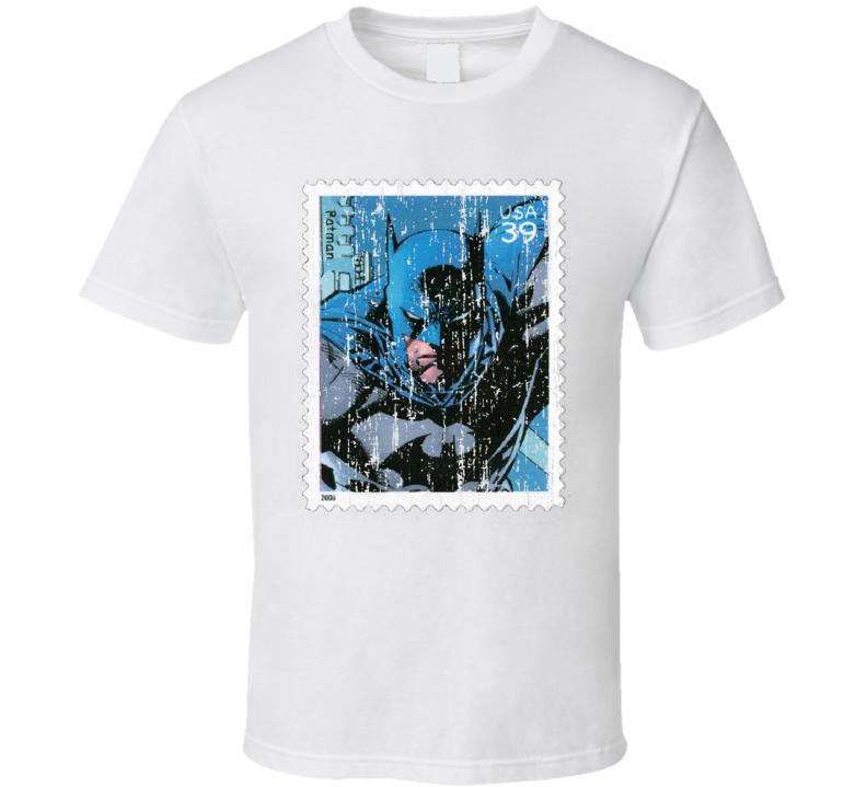 DC Comic Batman Stamp Collector Gift Worn Look T Shirt