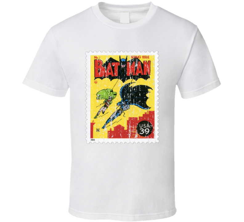 DC Comic Batman Robin Stamp Collector Gift Worn Look T Shirt