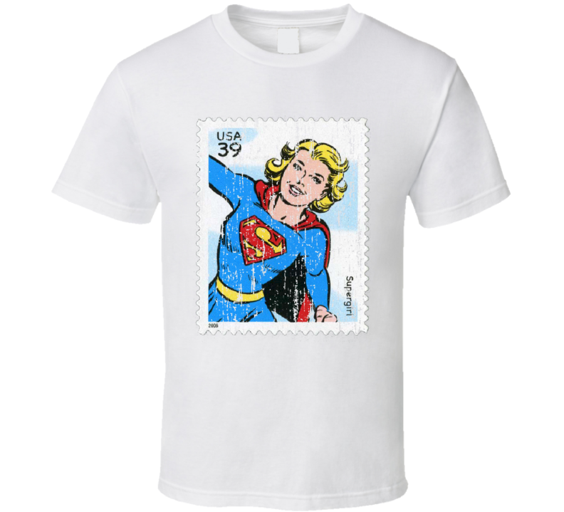 DC Comic Supergirl Stamp Collector Gift Worn Look T Shirt