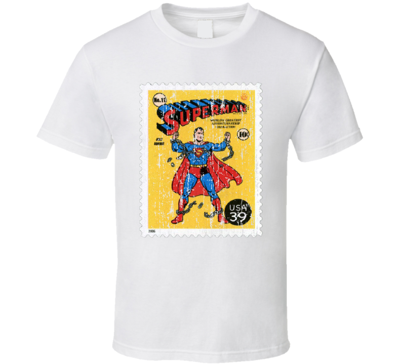 DC Comic Superman Stamp Collector Gift Worn Look T Shirt