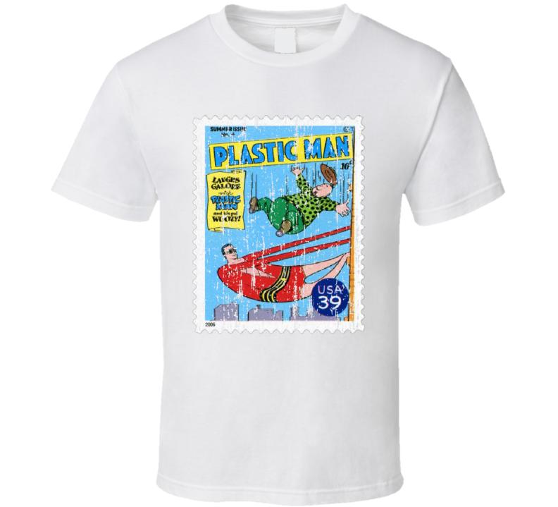 DC Comic Plastic Man Stamp Collectors Gift Worn Look T Shirt
