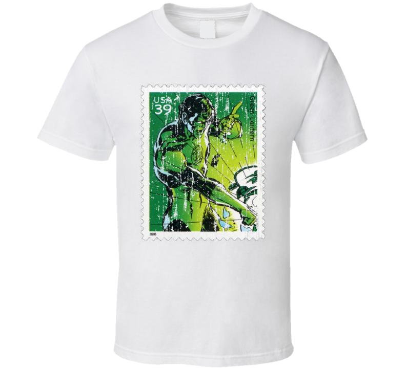 DC Comic Green Lantern Stamp Collector Gift Worn Look T Shirt