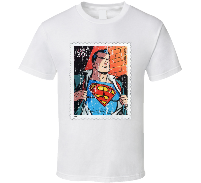 DC Comic Superman Stamp Collectors Gift Worn Look T Shirt