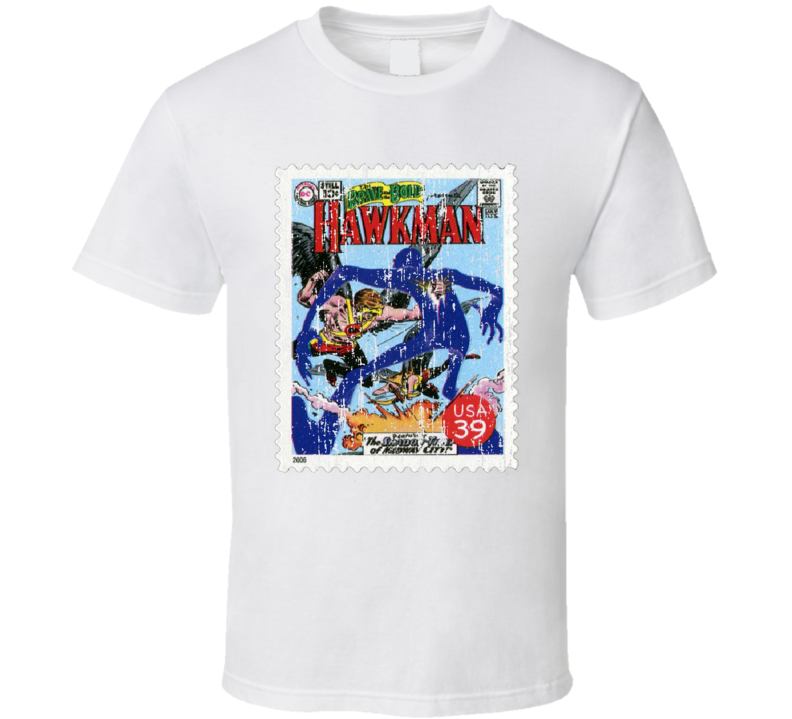 DC Comic Hawkman Stamp Collectors Gift Worn Look T Shirt