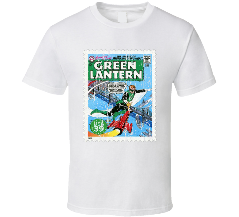 DC Comic Green Lantern Stamp Collectors Gift Worn Look T Shirt