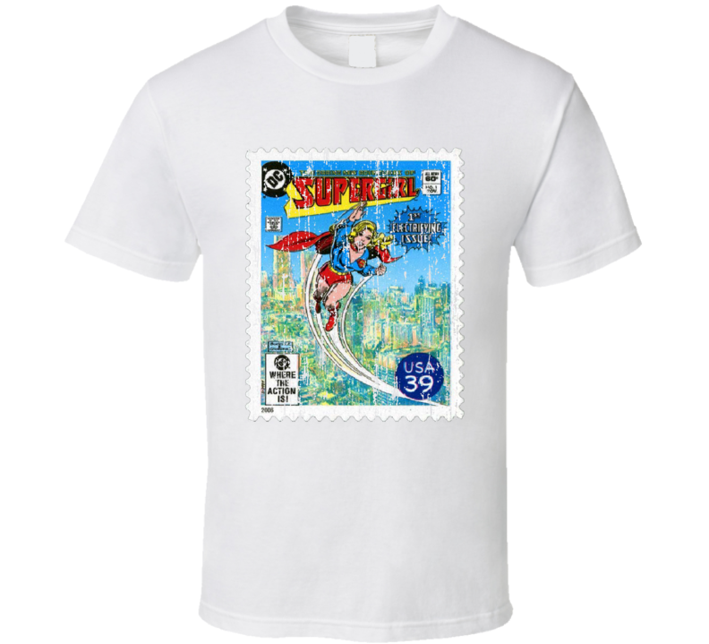 DC Comic Supergirl Stamp Collectors Gift Worn Look T Shirt