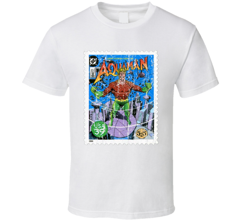 DC Comic Aquaman Stamp Collector Gift Worn Look T Shirt