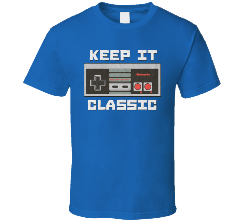 Nintendo Classic Keep It Classic Retro Gamer Super Fan Royal blue T Shirt
