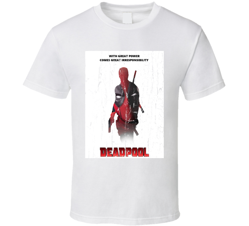 With Great Power Comes Great Irresponsiblility Deadpool 2 Marvel Superhero Action Comedy Movie Cool Fan Gift T Shirt