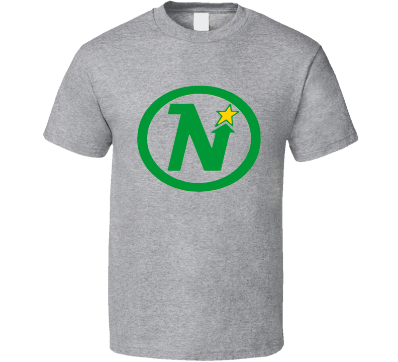 Minnesota North Stars Logo Retro Hockey Grey T Shirt