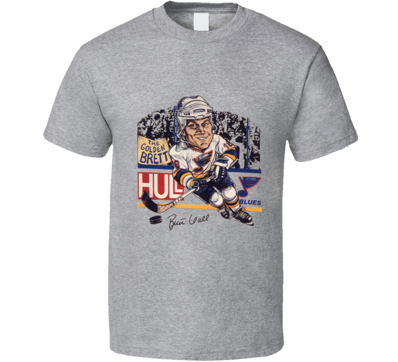 Brett Hull Golden Brett Retro Hockey Caricature T Shirt