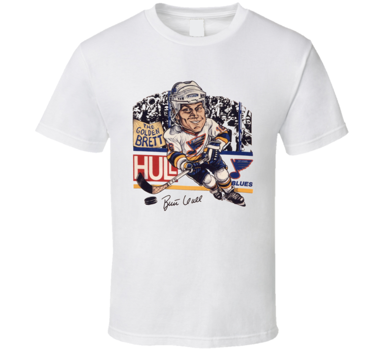 Brett Hull Hockey Legend Retro Caricature T Shirt