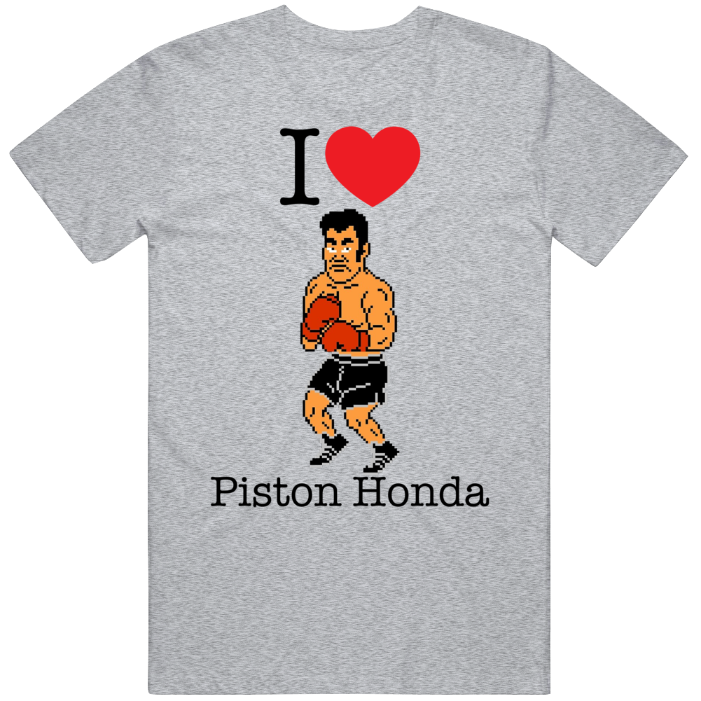 Piston Honda I Love Heart Mike Tyson's Punch Out Video Game Boxing T Shirt