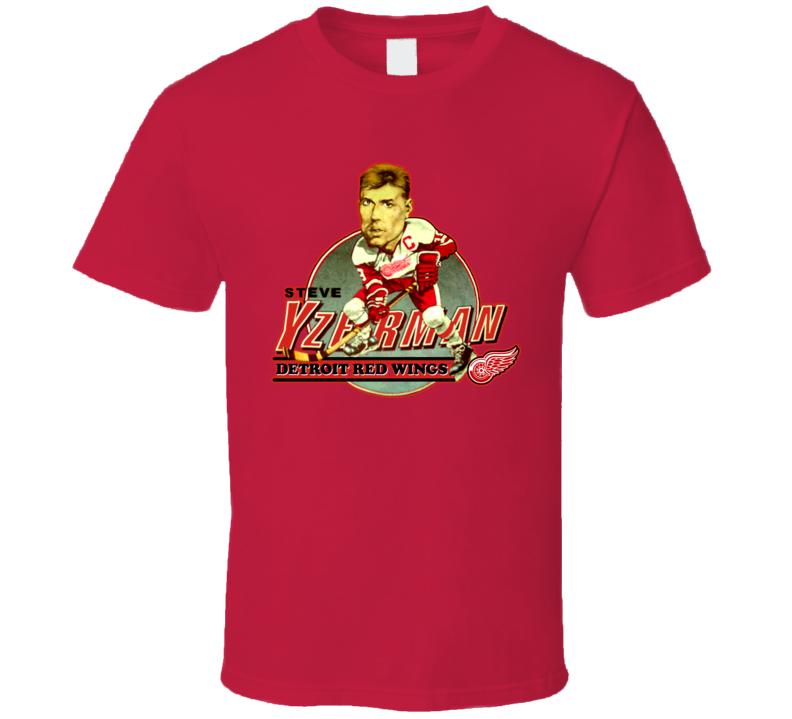 Steve Yzerman Retro Hockey Caricature T Shirt