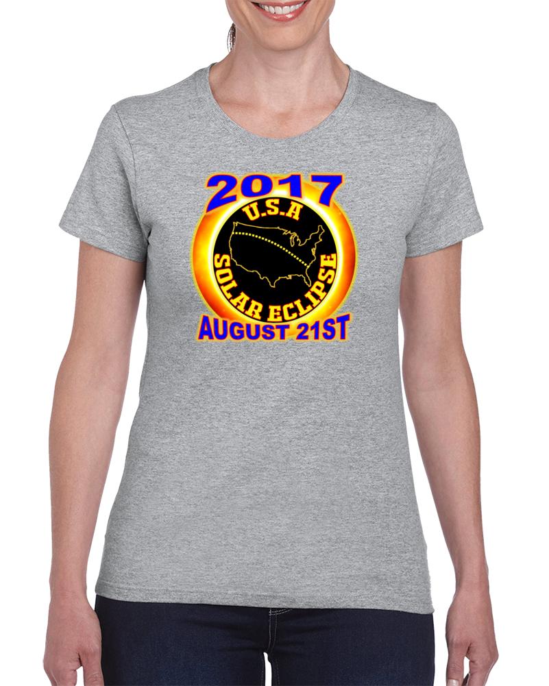 2017 Usa Total Solar Eclipse Star Gazer Tagless Tee T-shirt Ladies