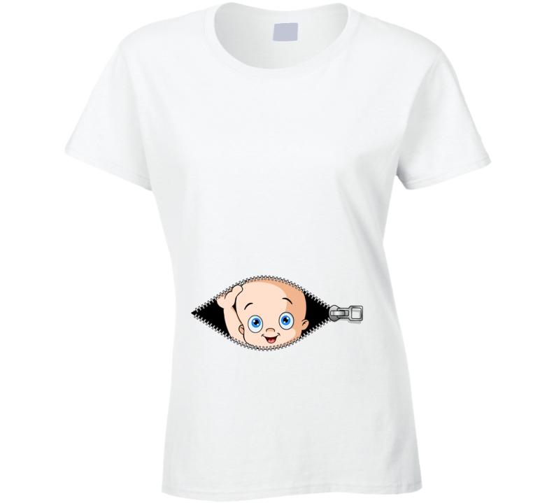 a1d7dfa392852 Womens Peeking Baby Pregnancy Funny Maternity T-Shirt Christmas Gift Baby  Announcement Tee