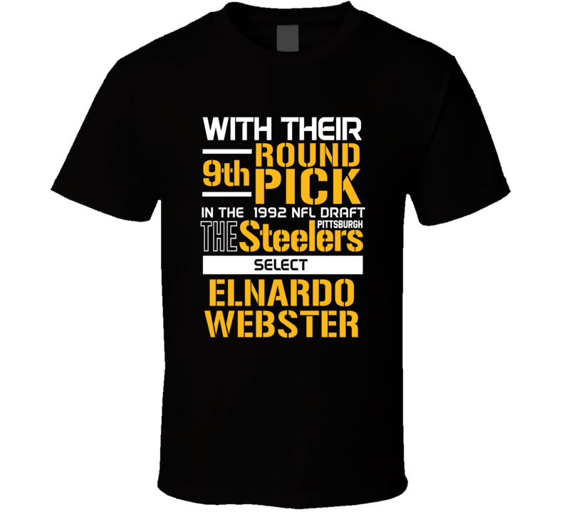 Elnardo Webster 1992 9th Round Linebacker Rutgers Pittsburgh Football Draft T Shirt