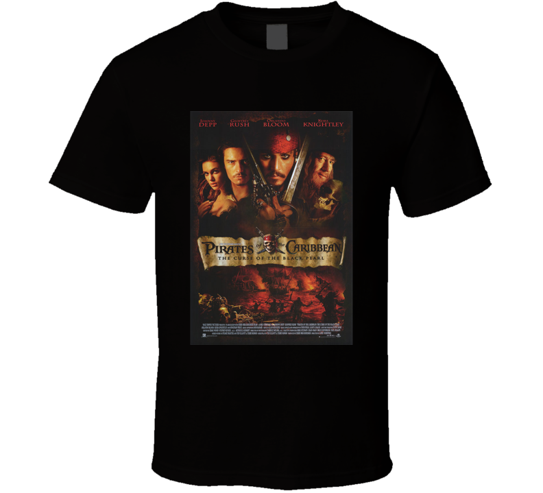 Johnny Depp Geoffrey Rush Keira Knightley 2003 Pirates of the Caribbean The Curse of the Black Pearl Cool Movie Poster Fan T Shirt