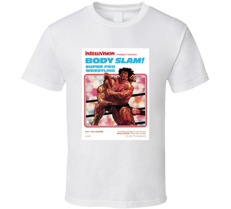 Body Slam Super Pro Wrestling 1980's Intellivision Popular Video Game Vintage Box T Shirt