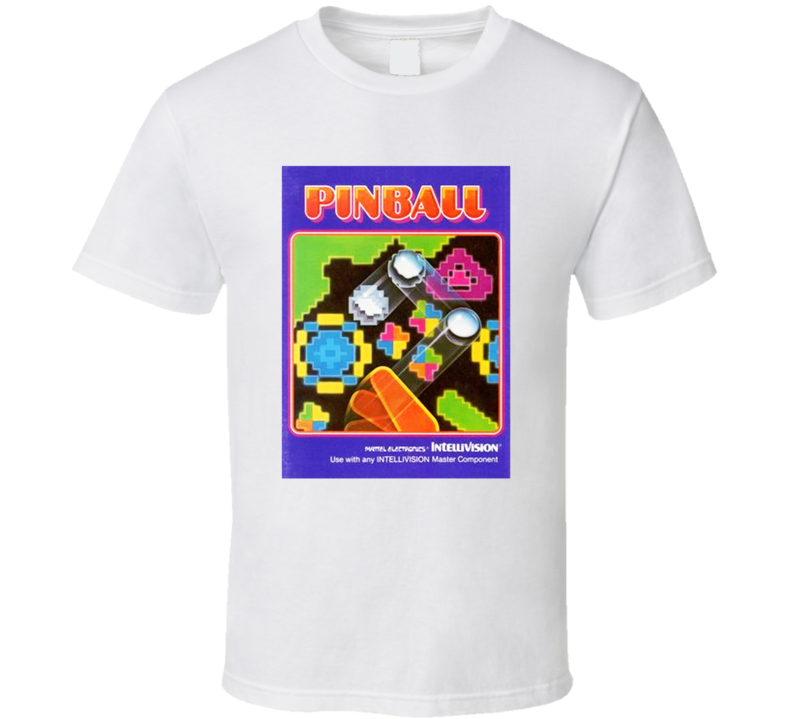 Pinball 1980's Intellivision Popular Video Game Vintage Box T Shirt