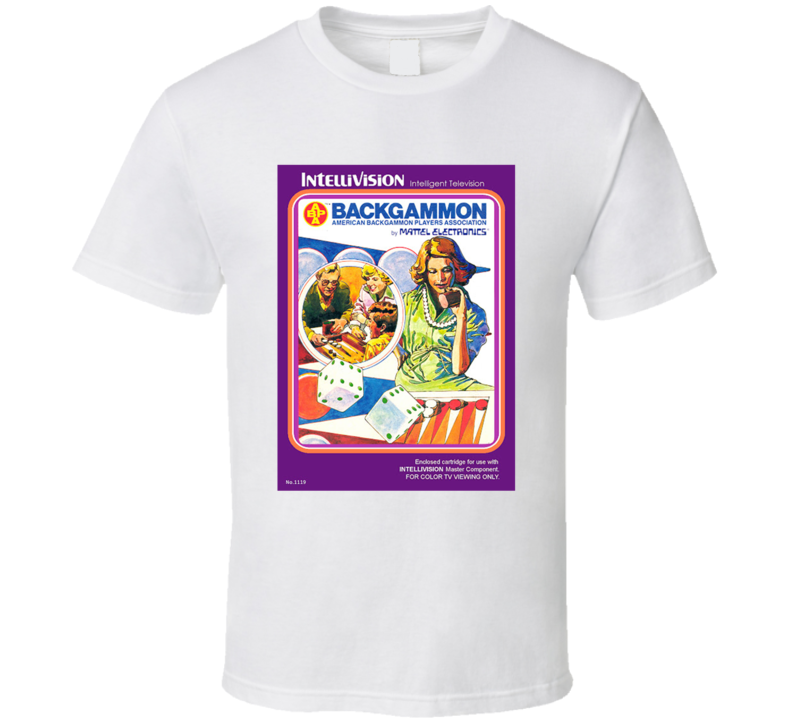 Backgammon 1980's Intellivision Popular Video Game Vintage Box T Shirt
