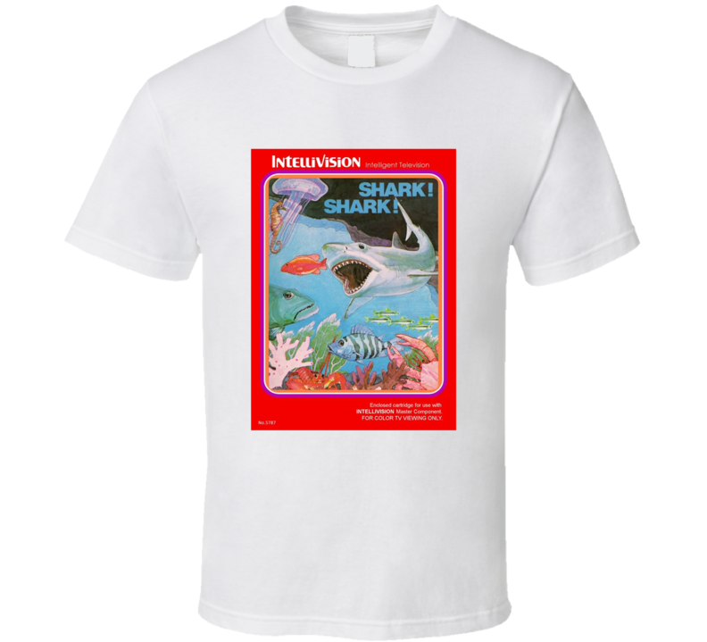 Shark! Shark! 1980's Intellivision Popular Video Game Vintage Box T Shirt