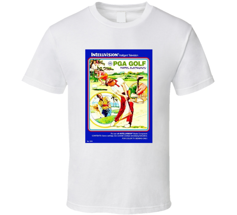 Pga Golf 1980's Intellivision Popular Video Game Vintage Box T Shirt