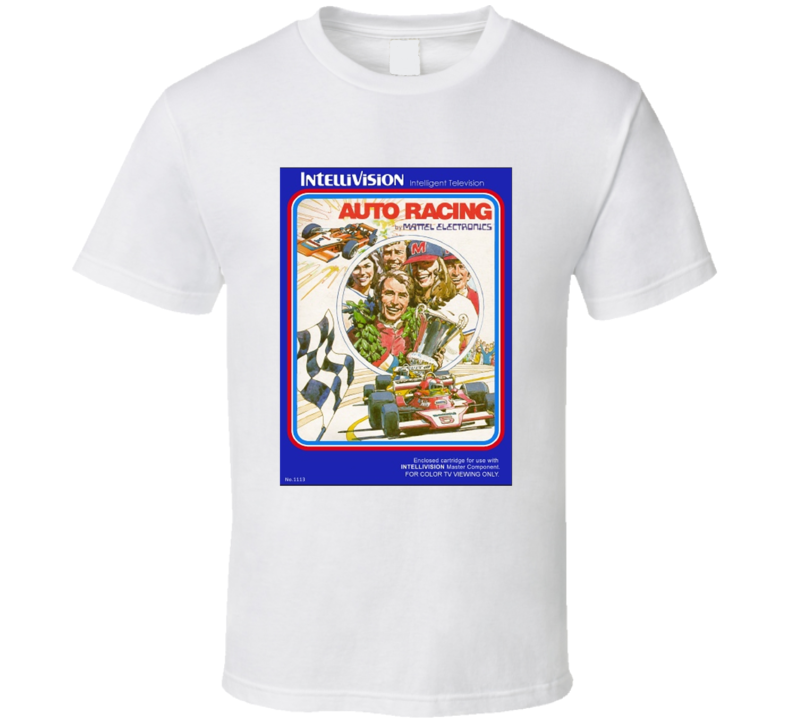 Auto Racing 1980's Intellivision Popular Video Game Vintage Box T Shirt