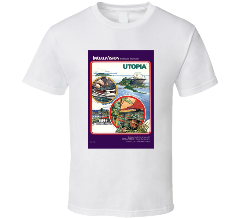 Utopia 1980's Intellivision Popular Video Game Vintage Box T Shirt