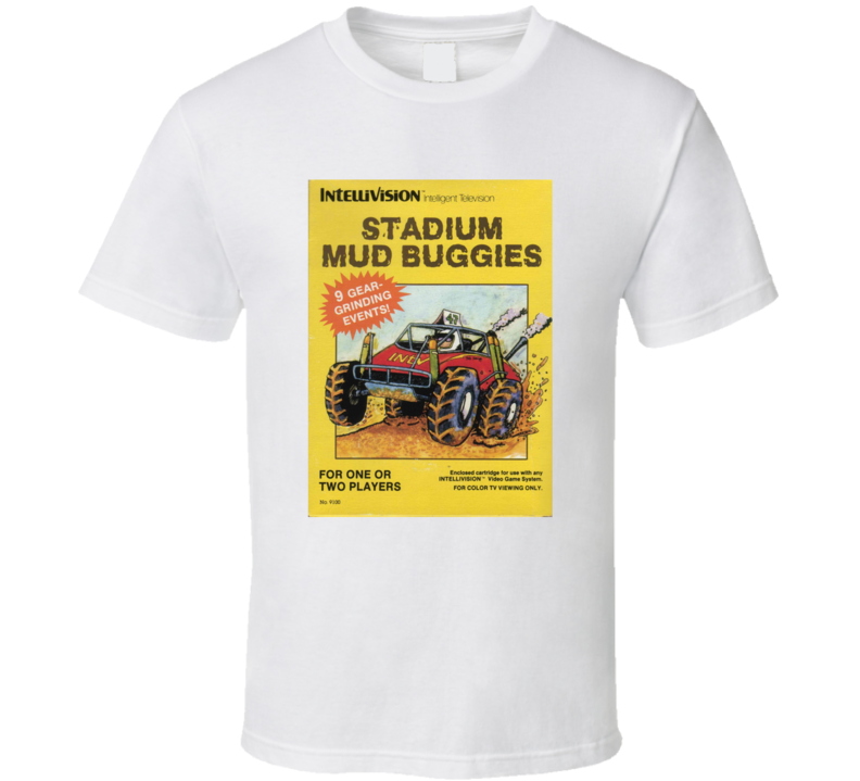 Stadium Mud Buggies 1980's Intellivision Popular Video Game Vintage Box T Shirt
