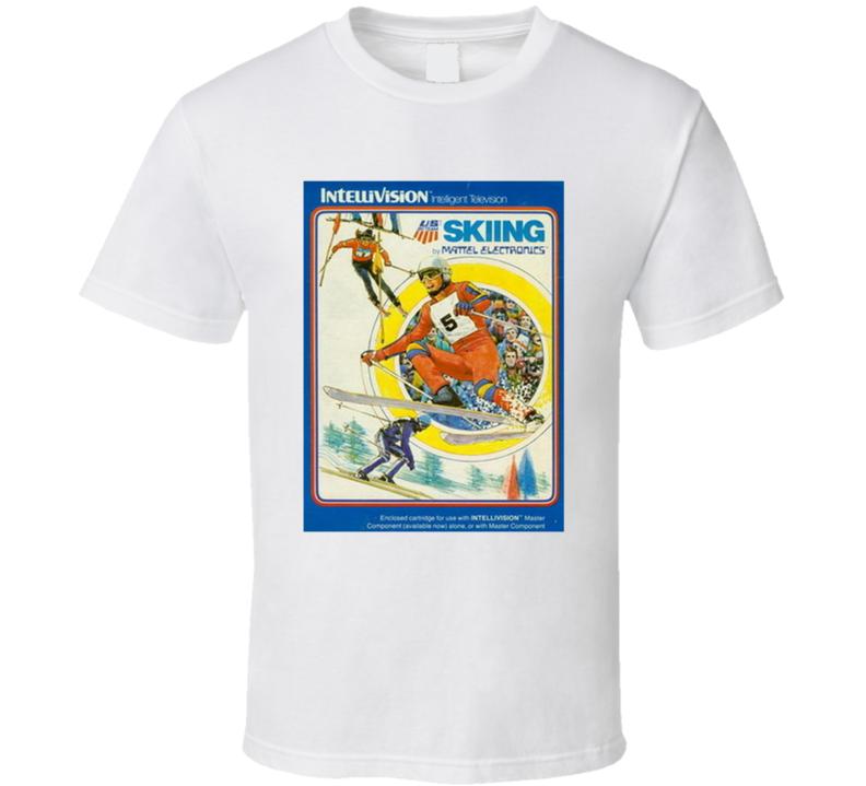 Us Ski Team Skiing 1980's Intellivision Popular Video Game Vintage Box T Shirt