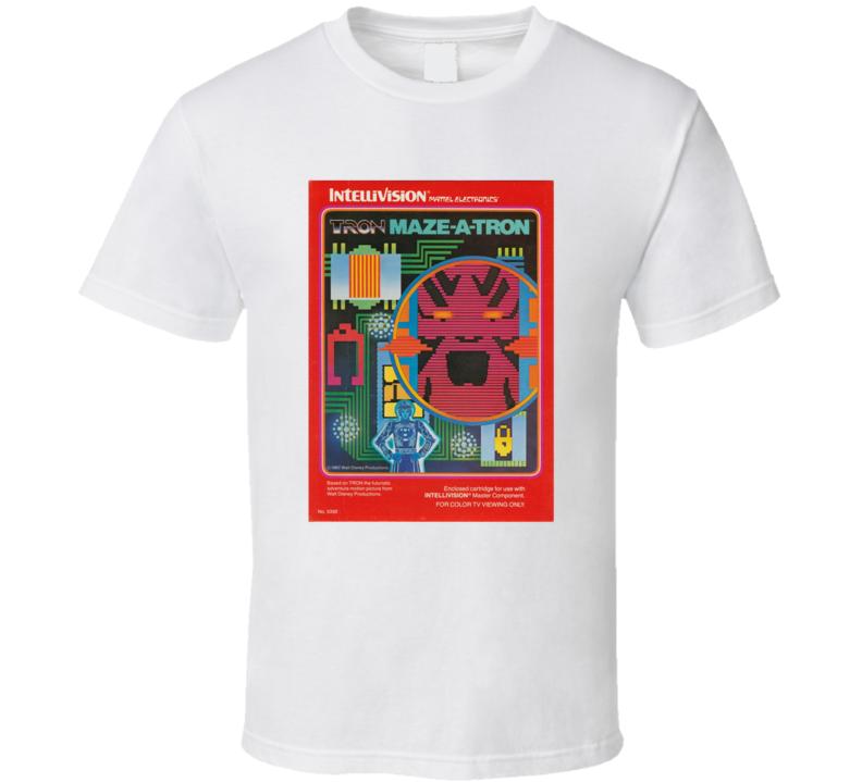 Tron Maze-a-tron 1980's Intellivision Popular Video Game Vintage Box T Shirt