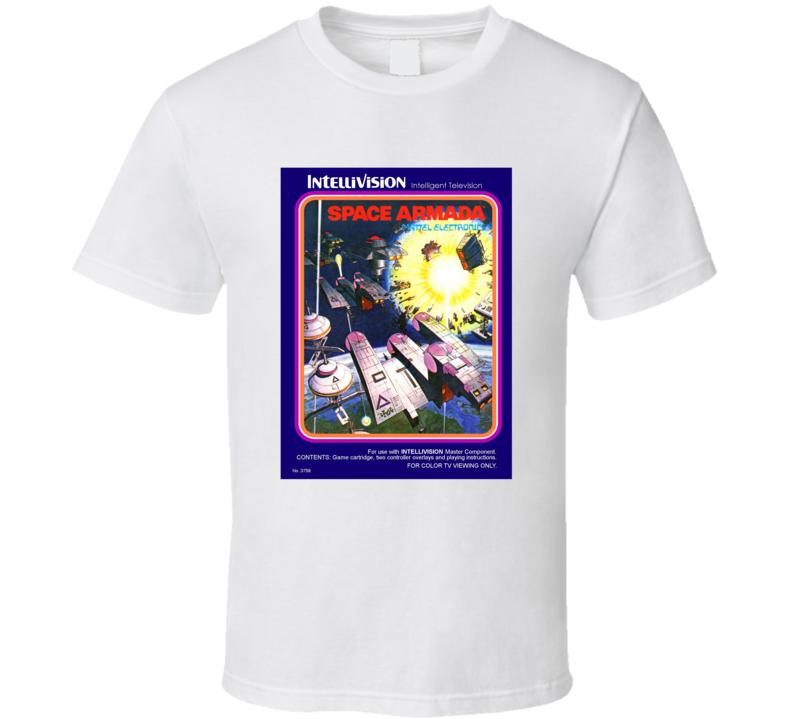 Space Armada 1980's Intellivision Popular Video Game Vintage Box T Shirt