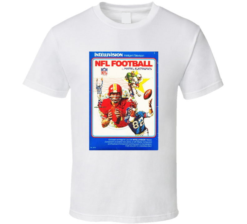 Nfl Football 1980's Intellivision Popular Video Game Vintage Box T Shirt
