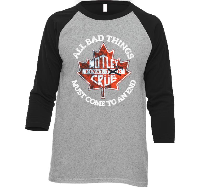 Motley Crue Final Tour Canadian Shows Raglan T Shirt