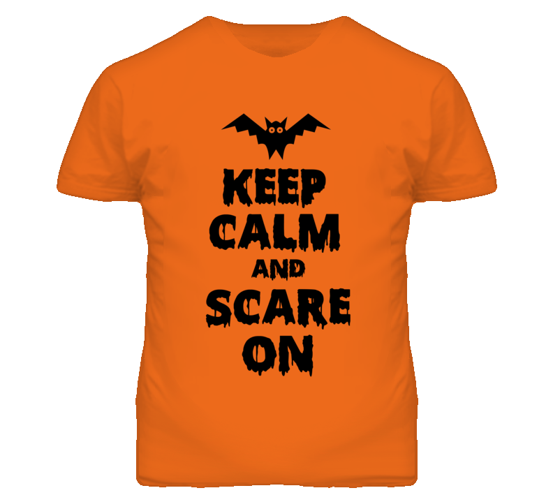 Keep Calm Scare On Bat Orange Halloween Costume T Shirt