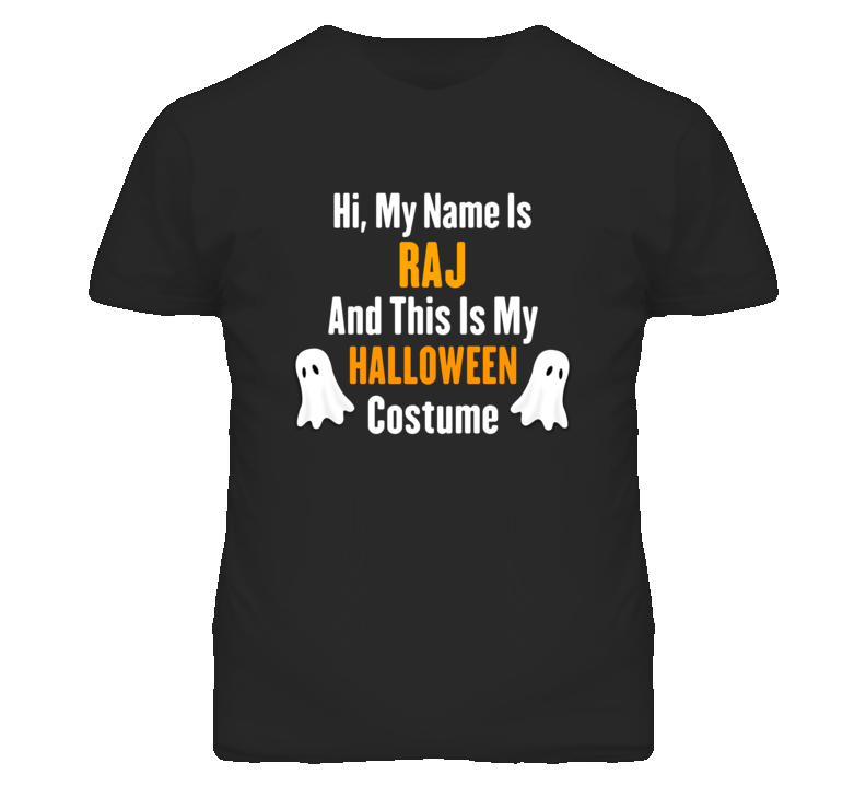 Hi My Name Is Raj Halloween Costume Fun T Shirt