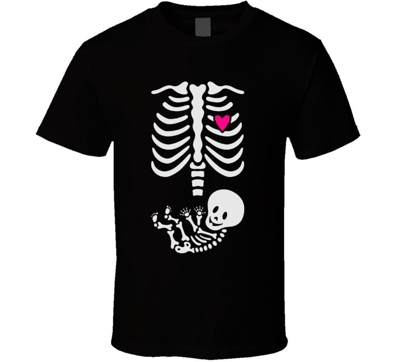 Skeleton Baby Maternity halloween Funny Pregnant T Shirt