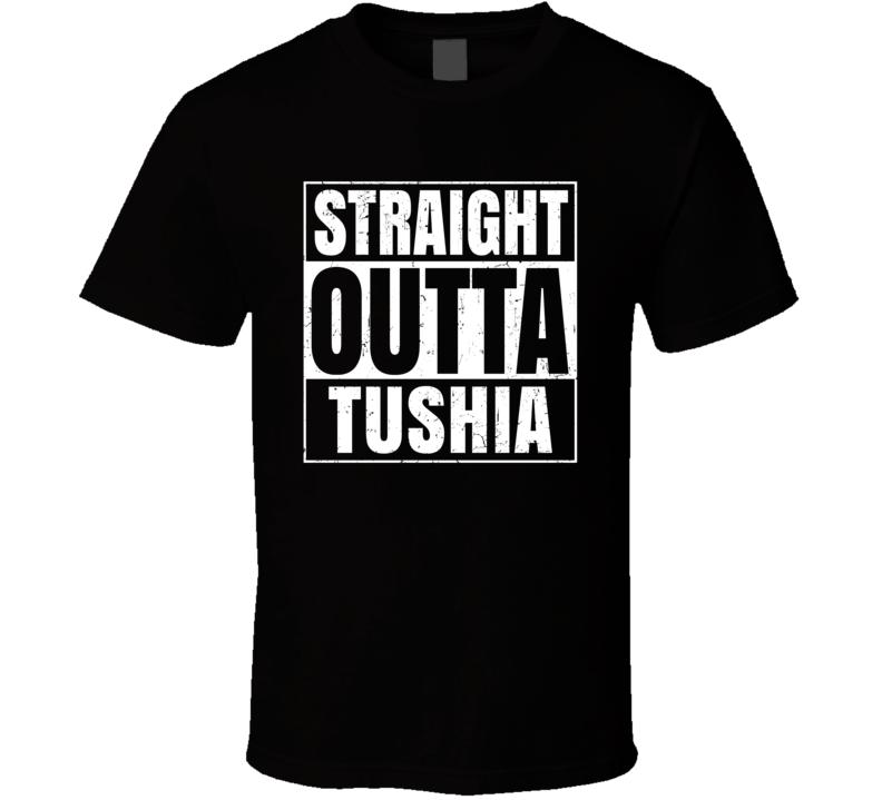 Straight Outta Tushia Israel Hebrew City Compton Parody T Shirt