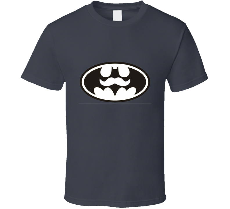 Batman With Moustache Charcoal T Shirt