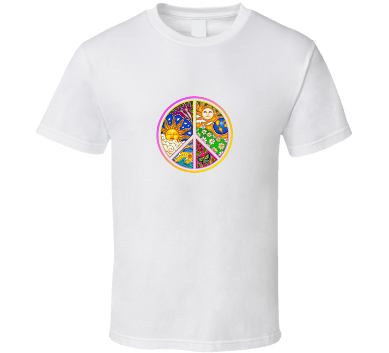Peace Graphic on White T Shirt
