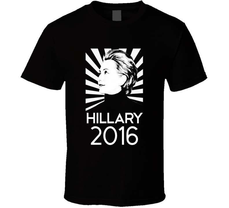 Hillary Clinton Silhouette Burst 2016 Presidential Campaign T Shirt