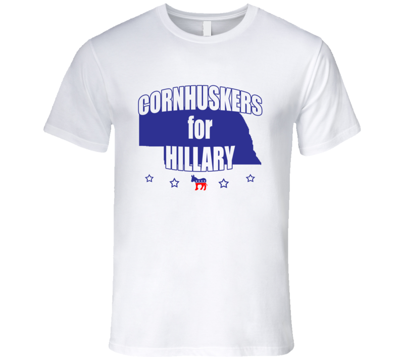 Cornhuskers For Hillary Clinton 2016 Democrat Nebraska State Silhouette T Shirt