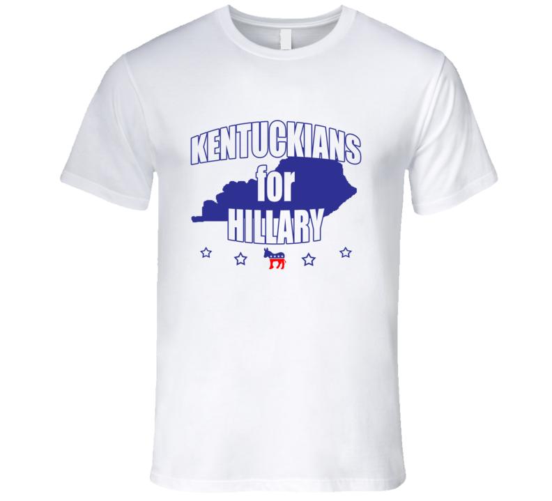 Kentuckians For Hillary Clinton 2016 Democrat Kentucky State Silhouette T Shirt