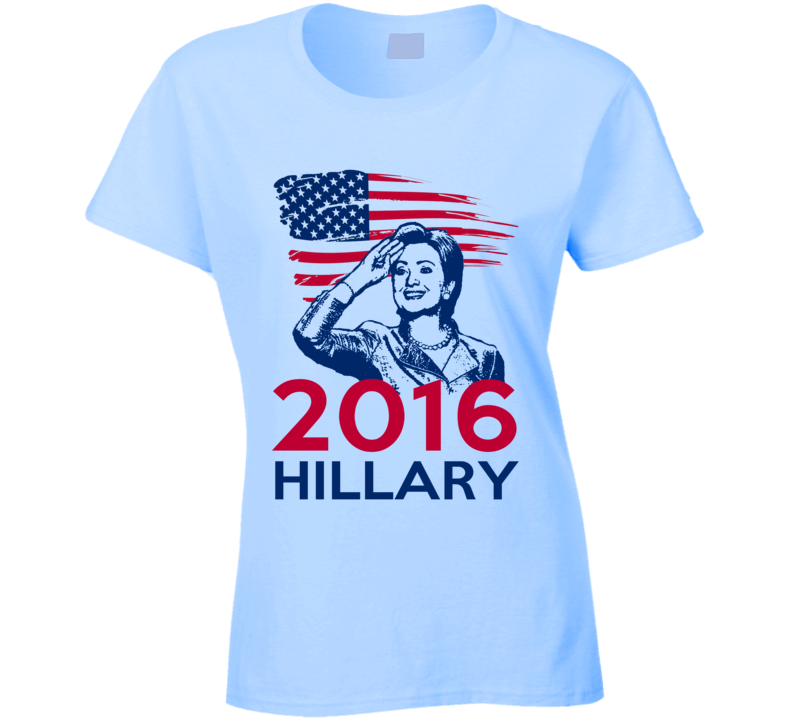 Hillary Clinton 2016 Proud American Flag Salute Political Campaign T Shirt